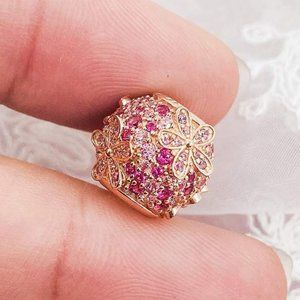 📿Pandora  Pink Pavé Daisy Flower Charm